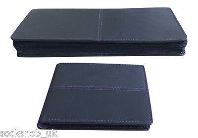 Genuine Leather Document travel Holder with matching money wallet ID card, Black