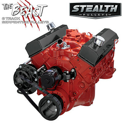 Black Chevy Small Block Serpentine Conversion - Alternator Only, Electric WP