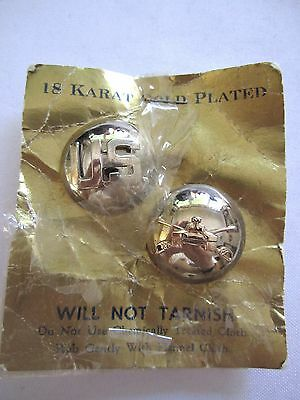 WW2 18kt Gold Plated US Army EM +Quartermaster Corps Insignia Disc Pins