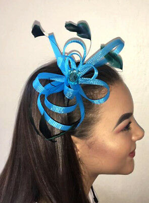 Turquoise Blue Looped Net Ribbon Feather Fascinator Gem Stone Headband Hair band
