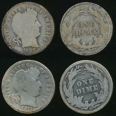 United States, 1907, 1911-D Dime, Barber (Silver) (2 Coins) - Good