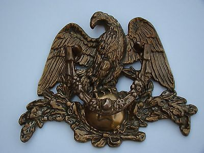 "Vintage Solid Brass Victorian Style Figural American Eagle Door Knocker 8""Tall"