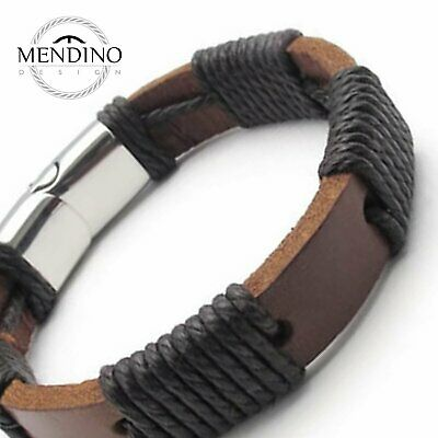 MENDINO Men's 316L Stainless Steel Leather Cord Bracelet Rope Clasp Bangle Brown