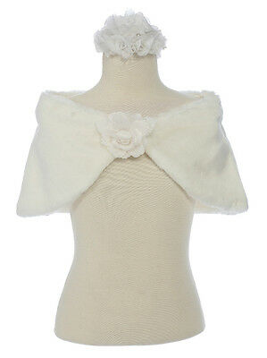 New Faux Fur White or Ivory Baby Holiday Cape Sizes S M L XL (2-8 Years old)