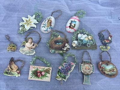 Great Lot 13 Antique Victorian Die Cut & Tinsel Easter Ornaments Figural Eggs