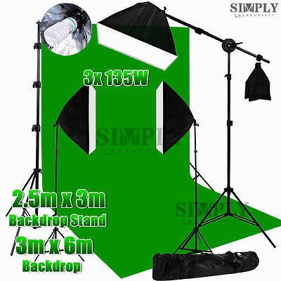 Photography Studio Softbox Lighting Soft box Boom Arm Light Backdrop Stand Kit