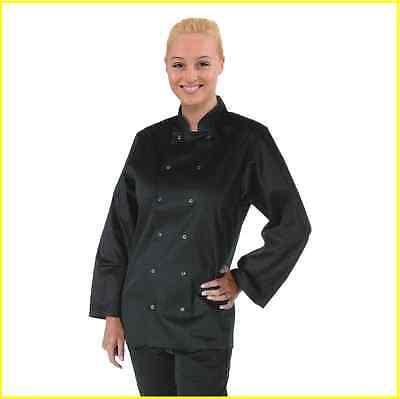 Chef Jacket Black Long Sleeve Press Stud Buttons Sizes XS to XXL Cook Uniform