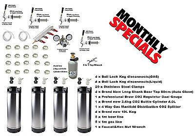 BRAND NEW Homebrew Party Kegerator Kit 4x 19L keg disconnect tap co2 regulator