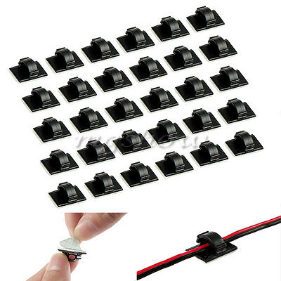 30X Plastic Car Wire Clips Tie Rectangle Cable Holder Mount Self-adhesive Clamp