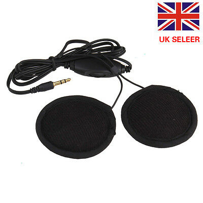 UK Stereo Motorcycle In-helmet Speaker 3.5mm Headphone Earphone Volume Control