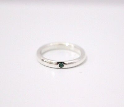 Tiffany & Co. Sterling Silver Elsa Peretti Green Emerald Stacking Ring Size 5