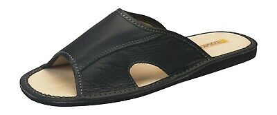New mens comfort slip on house leather slippers shoes Size UK 6 7 8 9 10 11 12