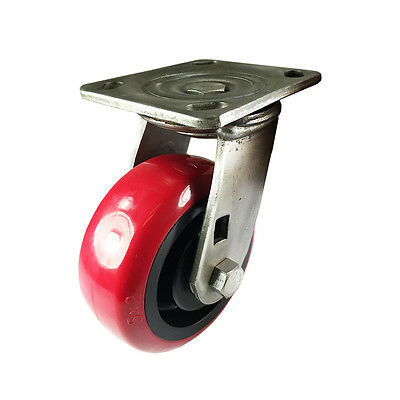 "5"" x 2"" Heavy Duty Stainless Steel  ""Polyurethane Wheel"" Caster - Swivel"