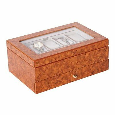 "Peyton 4.75"" High Watch Box in Burlwood Oak"