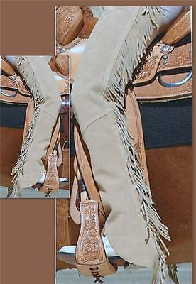 Beige Tan Suede Riding Driving Motorcycle Western SHOWMAN CHAPS XS S M Lg XL XXL