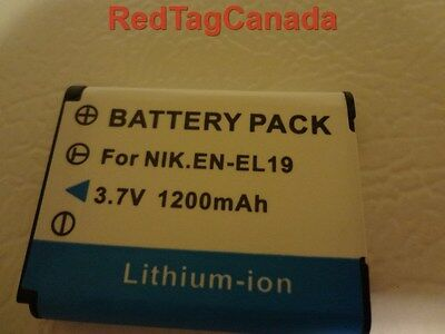 Battery for Nikon EN-EL19 Coolpix S2500 S3100 S4100 1200mAh