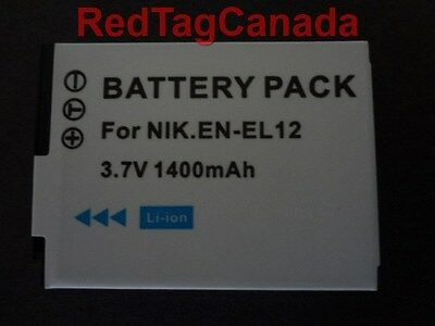 Battery for NIKON EN-EL12 Coolpix S710 S630 S620 P310 S6300 S9300 1400mAh Canada