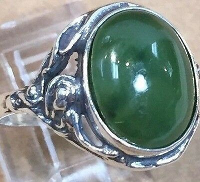 Jade STERLING SILVER ring SIZE 5.25/6/6.5/7.25/8.75 10x12mm MADE IN POLAND