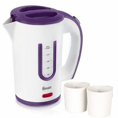 Swan Electric Compact Travel Kettle 0.5L With 2 Cups Dual Voltage