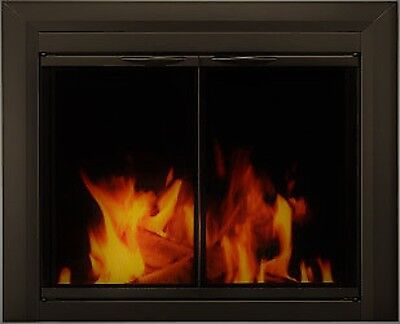 Pleasant Hearth Glass Fireplace Door Dexter Black Large  CL-3002