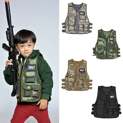 Children Kids Tactical Vest Training Combat Cosplay Police Assault Military Army