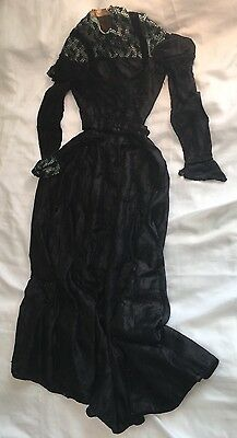 "Auth. Antique Vintage Edwardian Victorian Dress:Top/Long Skirt 20""waist Black"