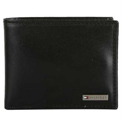 New Men's Tommy Hilfiger Leather Credit Card Id Wallet Bifold 31tl22x053 Black