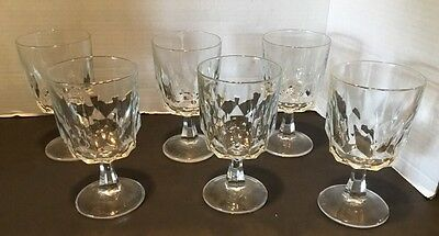 Vintage Set 6 Arcoroc France Cut Glass Goblets Water Wine 5.75""