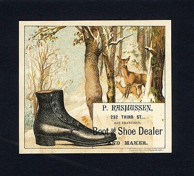 Rasmussen BOOT & SHOE DEALER Victorian Trade Card San Francisco Shoe in the Snow