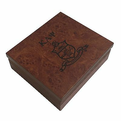 Kappa Alpha Psi Brown Marble Wood Pin/Watch Box w/ Letters & Crest