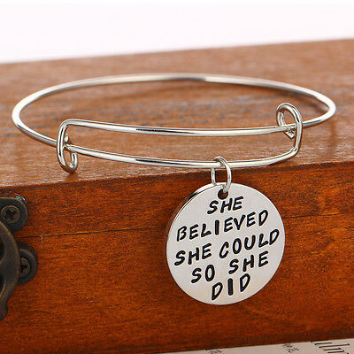 Women Girl Silver She Believed She Could Bacelets Bangles Pendant Jewelry Party