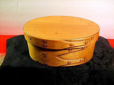 Old Shaker Style Hand Crafted Folk Art 2 Fingered Box & Lid #3779 Signd Wls 7-84