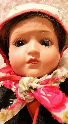 Stunning Antique Celluloid Head Doll w/ Brass Pin Jointed body, Glass Eyes; NRes