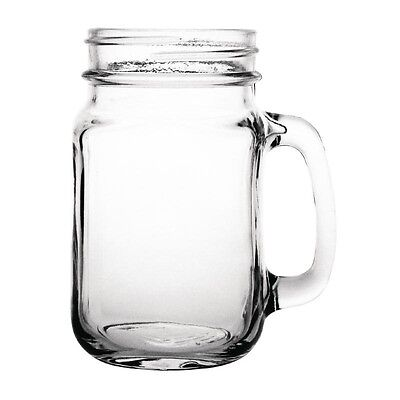 12 x Toughened Commercial Handled Mason Jar Glass 470ml Olympia Cafe Restaurant