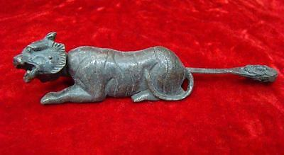 Rare Chinese old style Brass Carved Tiger padlock lock and key