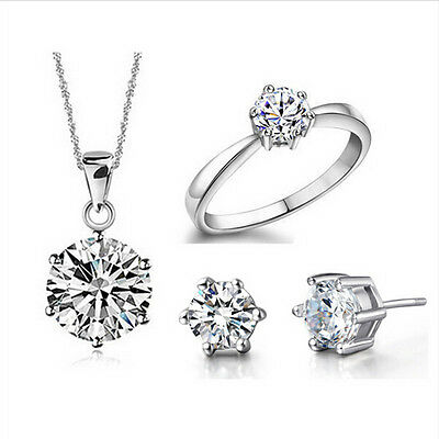Wedding Fine Jewelry Set Real Pure 925 Silver Plated 6 Claw Pendant Earring Ring