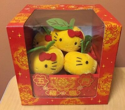 Sanrio Hello Kitty 5 Lucky Mandarin Oranges Plush Rare!!!