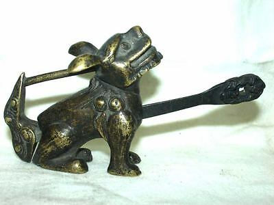 Rare Chinese old style Brass Carved foo dog figure padlock lock and key