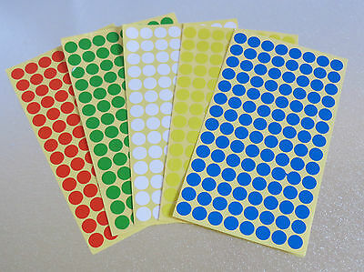 10mm Round 5 Colour Dot Sticker Circle Sticky Self Adhesive Label