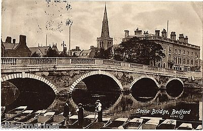 Bedford, Stone Bridge, old postcard, posted 1914