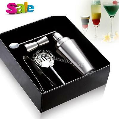 5pcs/Box Stainless Steel Cocktail Shaker Mixer Drink Bars Bartender Set Tool NEW