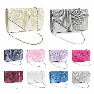 Satin Pleated Wedding Bridal Clutch Bag Evening Prom Handbag Women Bag