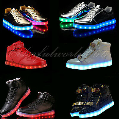 High Top LED Light Lace Up Unisex Sportswear Sneaker Luminous Shoes Casual New
