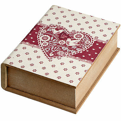 Large Wooden Book Shaped Box With Heart Design - Beautiful Addditon To Home.