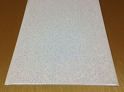 19 White Sparkle Rain Cladding Panels Bathroom Ceiling Shower Wet Wall PVC 5mm