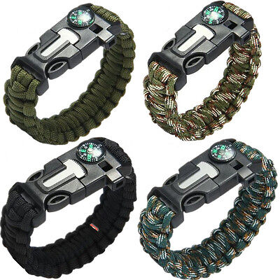 Survival Tool Bracelet Outdoor Emergency Equipment Paracord Flint Fire