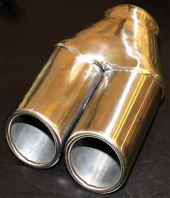 """STAINLESS STEEL EXHAUST DUAL TIP - 57mm/2.25"""" Inlet - FREE POSTAGE"""