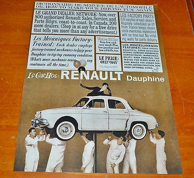 Clever 1960 Renault Dauphine American Ad - Retro Auto Vintage 60S Compact