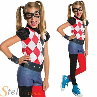Girls Harley Quinn Costume Superhero DC Comics Child Fancy Dress Outfit