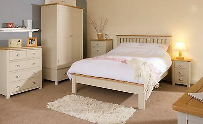 Stone Grey Oak Trim Painted 4ft 6 Double Bed Low End Shabby French Country Chic